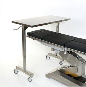stainless steel height adjustable tables that straddle the operating table in ORs
